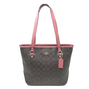 Coach F58294 Signature Canvas Zip Top Tote Bag